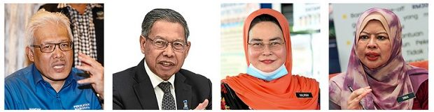 Not spared: (From left) Hamzah, Mustapa, Halimah and Rina are among the ministers who have tested positive for Covid-19.