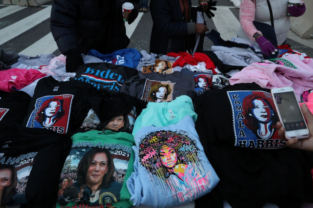 A stall selling Harris merchandise near the secured zone set up for the inauguration of Joe Biden as the 46th President of the United States