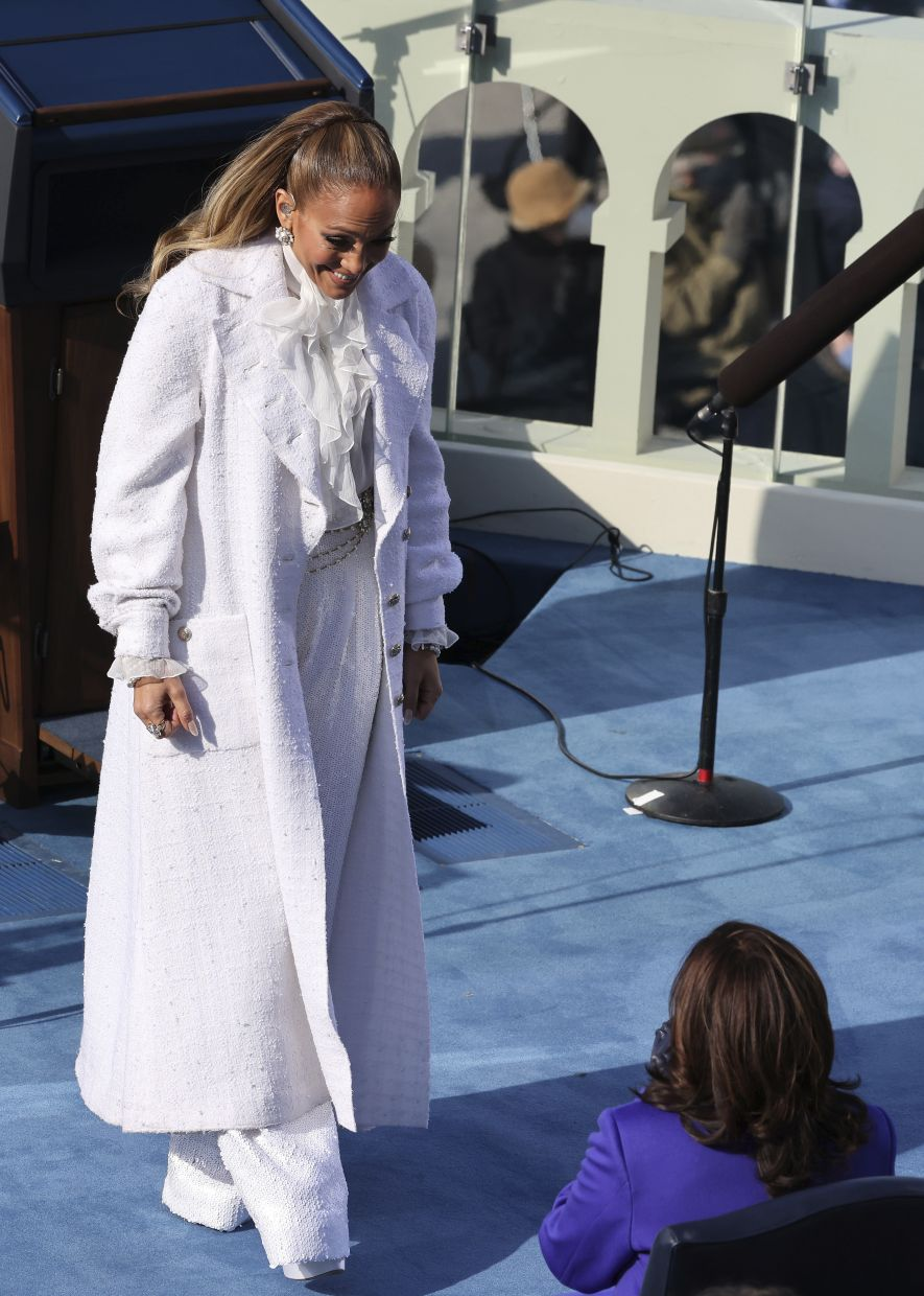 Jennifer Lopez dazzled for her performance. Photo: AP