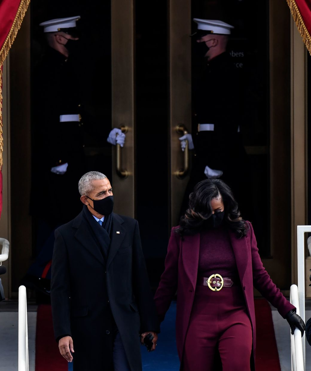 Former US president Barack Obama and former US first lady Michelle Obama arriving at the inauguration. Photo: AFP