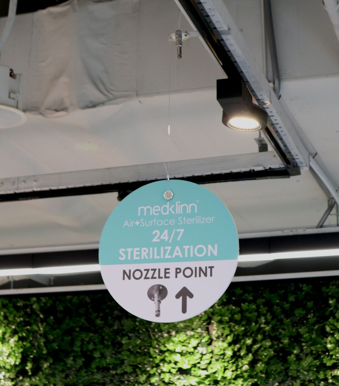 Medklinn air and surface steriliser nozzles emit active oxygen to keep the supermarket sterilised.