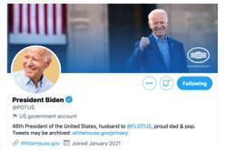 Bidens @POTUS follows 11 White House-affiliated profiles — and Chrissy Teigen