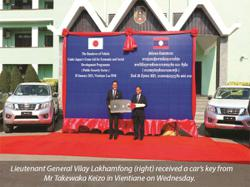 Laos receives patrol cars from Japan to counter terrorism