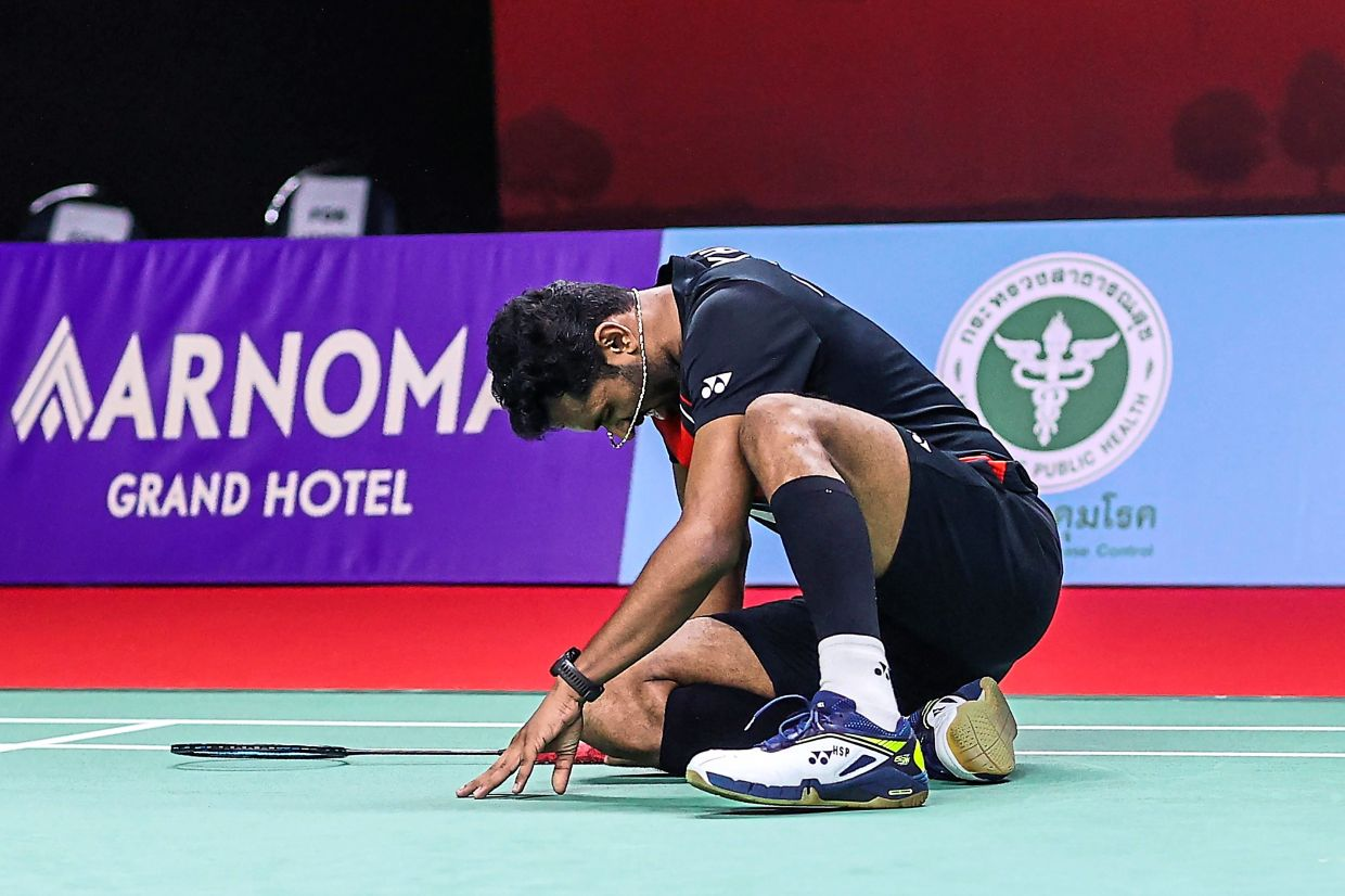 Out of gas: India's H.S. Prannoy reacting after beating Indonesia's Jonatan Christie in the first round of the Toyota Thailand Open. However, he lost to Malaysia's Liew Daren in the second round yesterday. — AFP