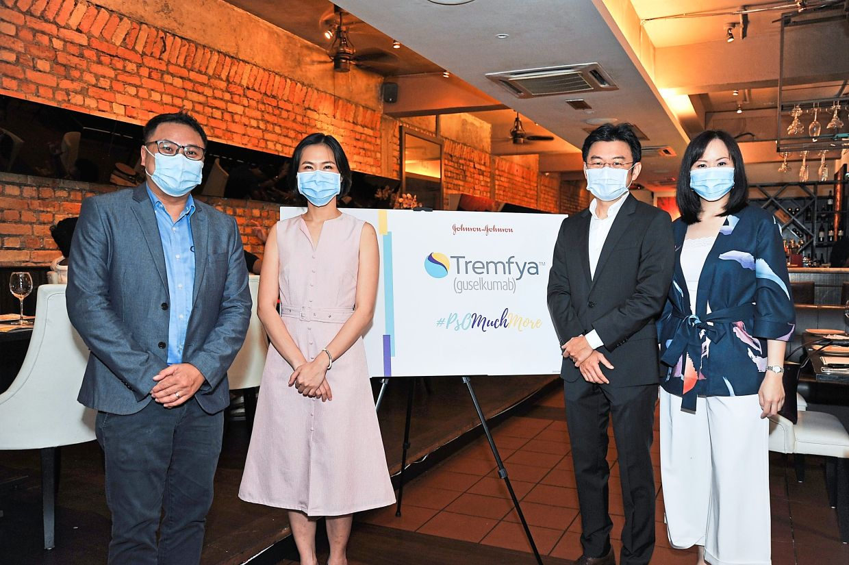 Present at the official launch of Tremfya was (from left) Janssen senior product manager Seri Naga Leong, Dr Chin Chwen, Dr Peter and Janssen marketing head Sophia Lim.
