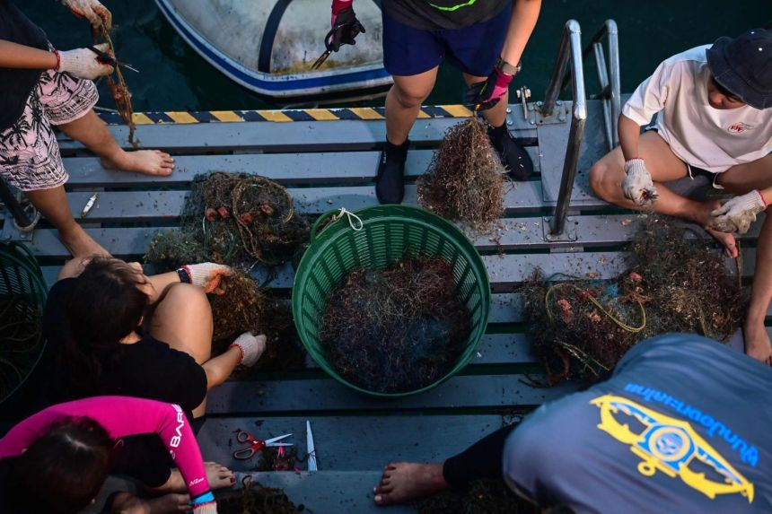 Environmental Justice Foundation members and volunteer divers sorting discarded fishing nets recovered off the coast of Chonburi, Thailand, on Dec 18, 2020. - AFP
