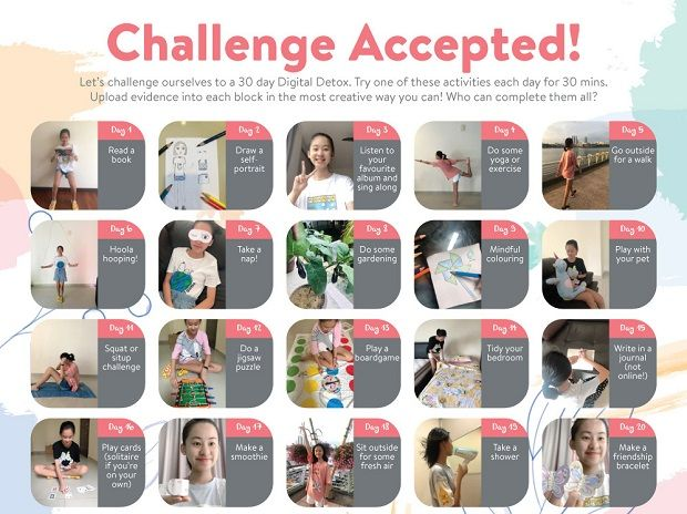 The Digital Detox challenge whereby students document 30 minutes of their day for a month doing offline and screen activities.