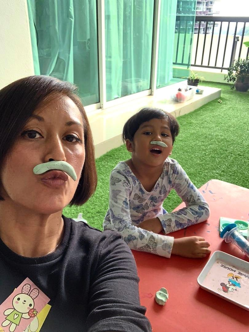 Iza ensures her daughter Kaira gets a fair share of physical and cognitively stimulating activities each day. Photo: Iza Ibrahim