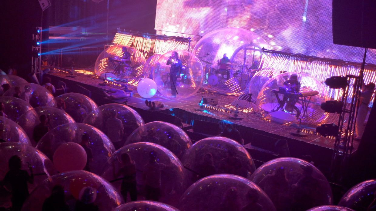 Flaming Lips gives a socially distanced 'Space Bubble' concert, using individual inflatable bubbles to avoid the spread of coronavirus disease at the Criterion in Oklahoma City, United States on Jan 22, 2021. Photo: Handout