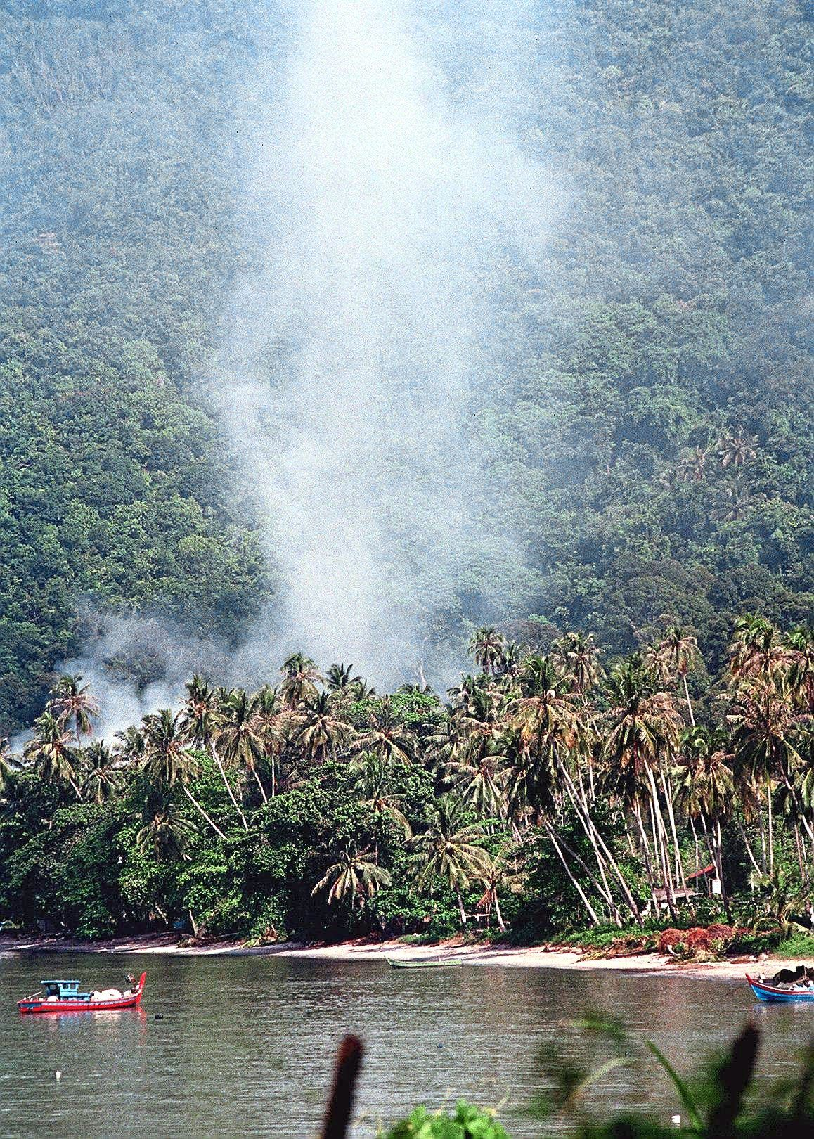This is not a forest fire, but smoke from the burning of culled pigs that were infected by the Nipah virus at Gertak Sanggul, Penang, in 2011.