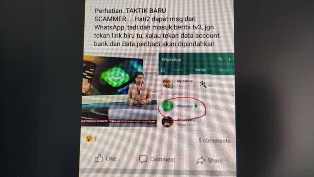 pesan viral Status WhatsApp adalah scammer