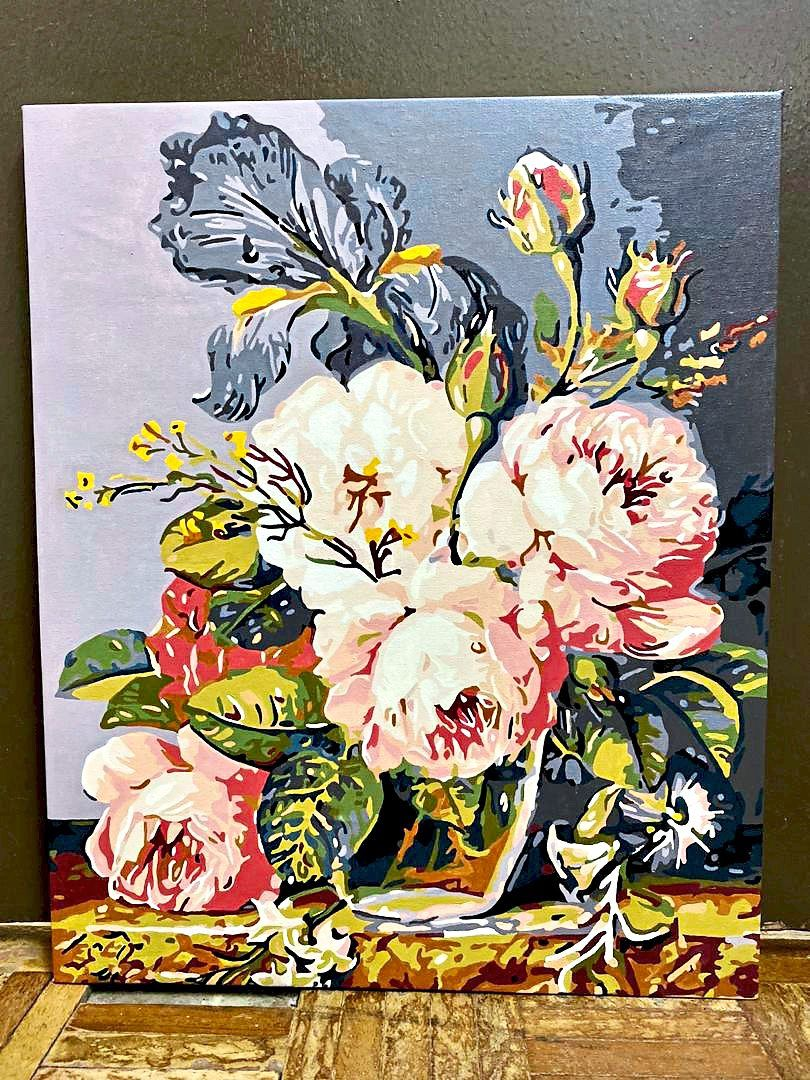 Belle's painting of peonies, a flower which symbolises prosperity. Photo: Angie Lim