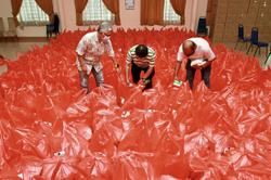 5kg rice packs distributed to the poor