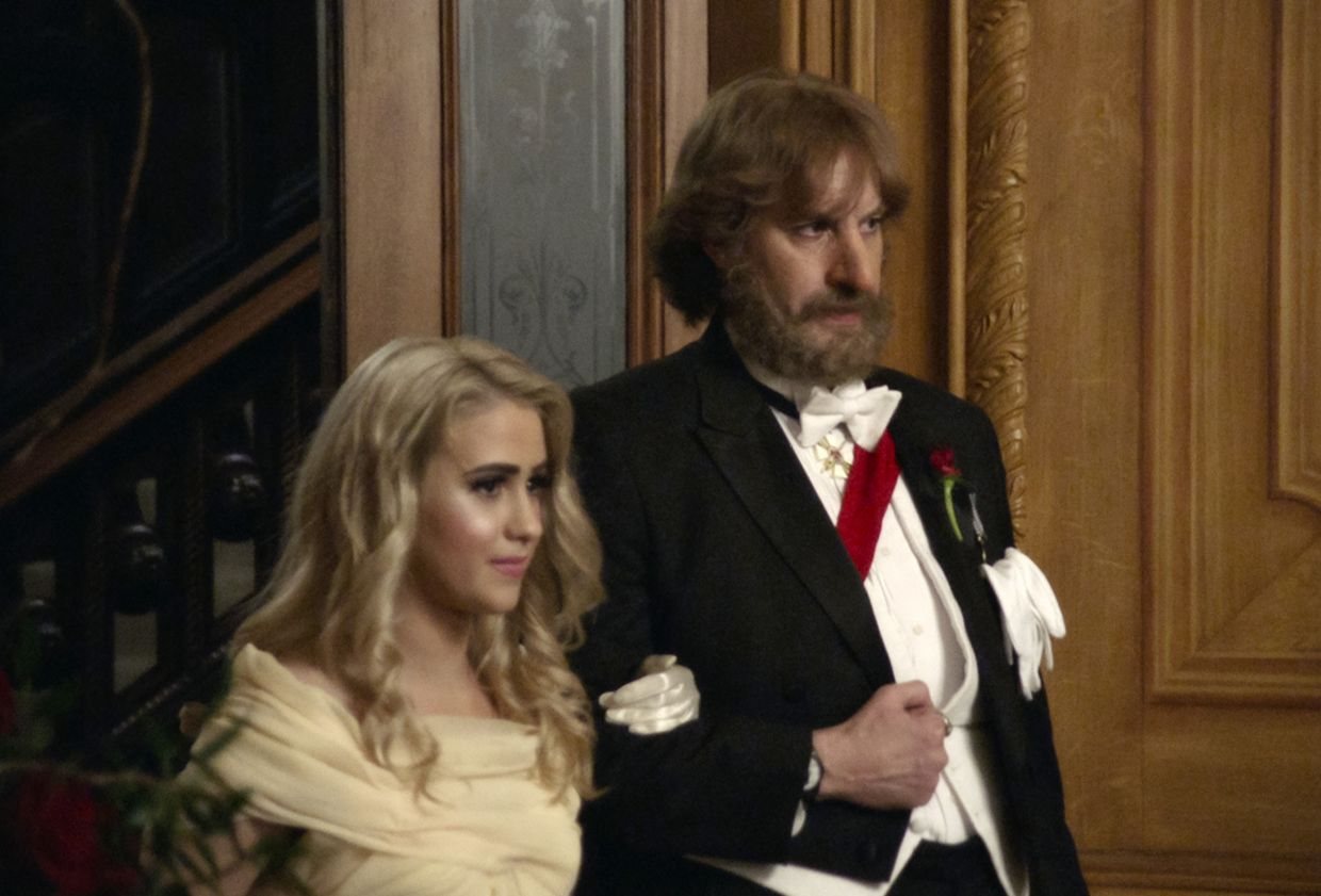 Maria Bakalova, left, and Sacha Baron Cohen in a scene from 'Borat Subsequent Moviefilm.'