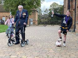Inspired by Capt Tom Moore, girl, 11, does a million keepy uppies to raise funds