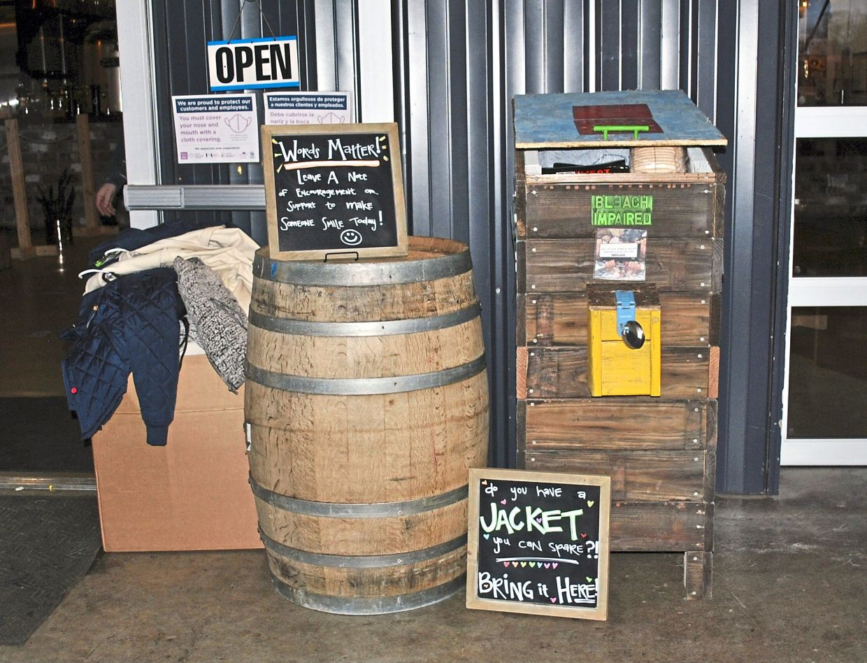 A donation station built by Bleach Impaired, a mutual aid organisation, seen in front of a brewery in Charlotte. The donated goods are given to homeless residents and fellow mutual aid organisations in the city.
