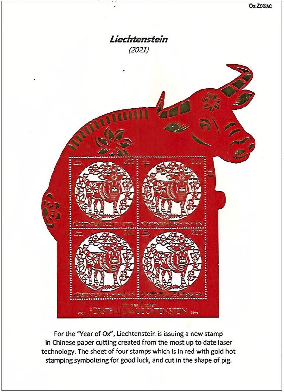 Liechtenstein's Year of the Ox 2021 stamp featuring Chinese paper-cutting design.