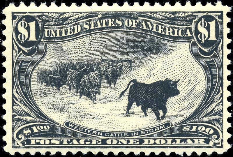The Western Cattle in Storm stamp printed in 1898 and issued by the US Post Office.