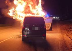 Man suffers minor injuries as car goes up in flames after crash