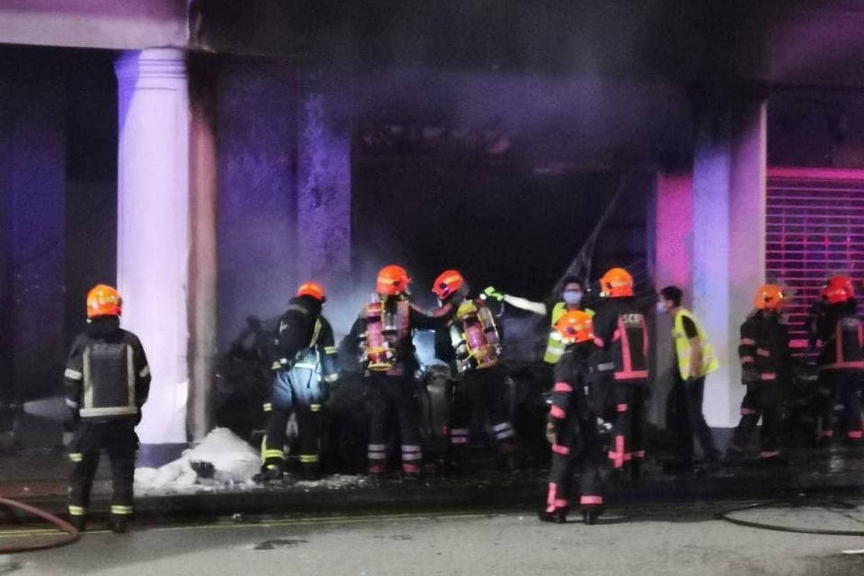 The SCDF said it was alerted to a fire at 37 Tanjong Pagar Rd at about 5.40am. - The Straits Times/ANN