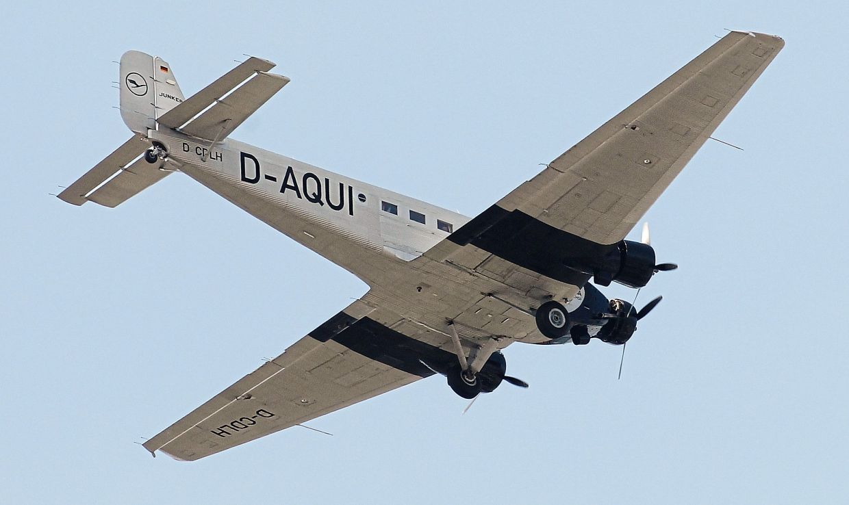 A German old-timer plane Ju 52 D-AQUI flies above the city of Hamburg, Germany. Such models are rarely seen in the skies. — dpa/Malte Christians