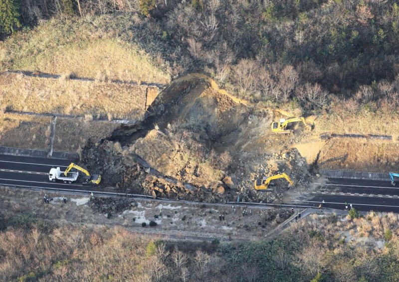 A landslide caused by a strong earthquake blocks on Joban Expressway in Soma, Fukushima Prefecture, Japan on February 14, 2021 in this photo taken by Kyodo. - via Reuters