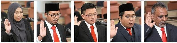 New councillors (from left) Saribanon, Muhammad Izuan, Tee, Mohd Firdaus and Kumareval are part of the 17 sworn in recently, bringing the total number of MBSA councillors to 23.