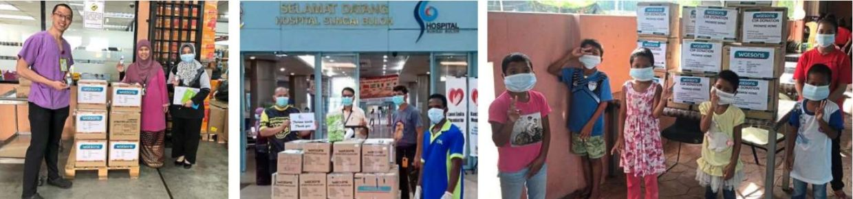 Among the many beneficiaries which received essential supplies from Watsons Malaysia are (pics, from left) University Malaya Medical Centre, Hospital Sungai Buloh and Promise Home orphanage.
