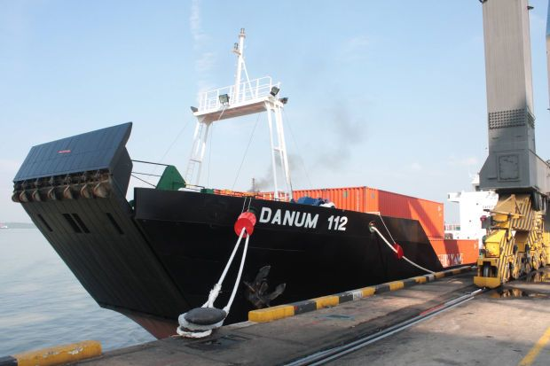 One of Shin Yang\'s container feeder vessel, at the Northport wharf. File pic.