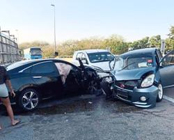 Wrong-way driver causes four-vehicle pile-up