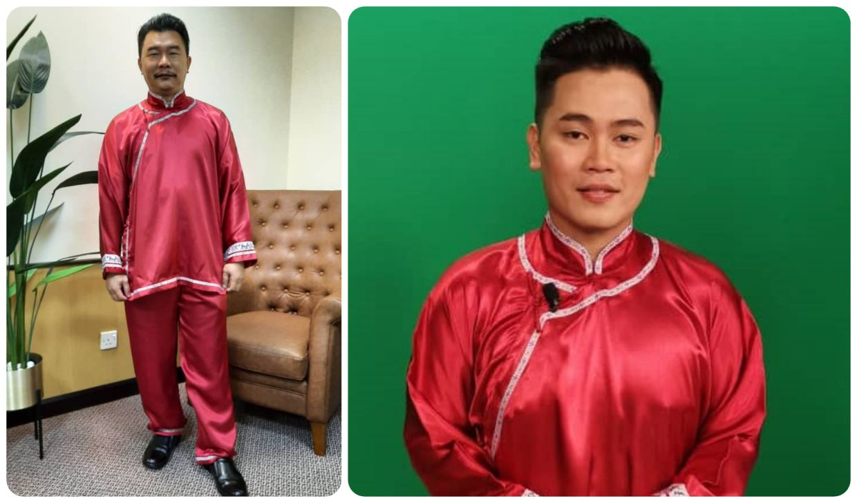 A combination photo of the outfit in question. On the left is newsreader Ruskap Muaram showing the outfit in full. On the right is Mohd Dhihya Sahlan, also in the outfit. Photo: RTM