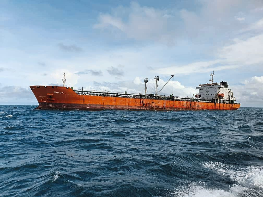 A vessel caught by MMEA for illegally anchoring in eastern Johor waters. — THOMAS YONG/The Star