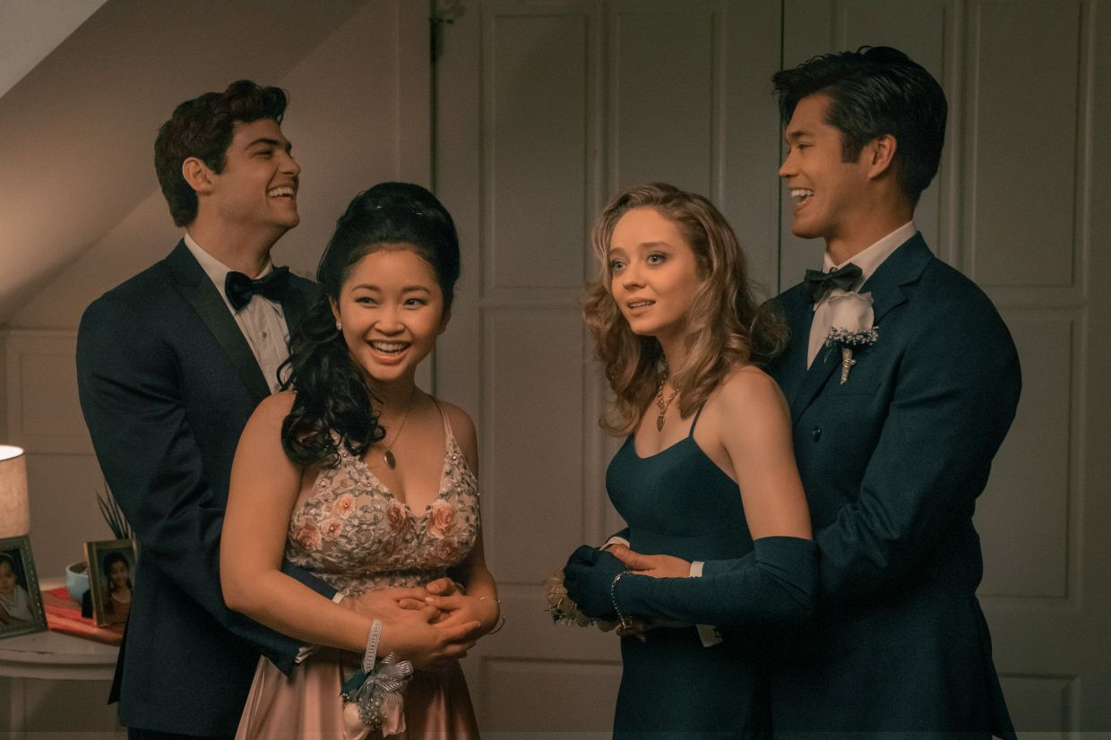 Peter, Lara Jean (left and second from left) with their friends attend prom in 'Always And Forever.'
