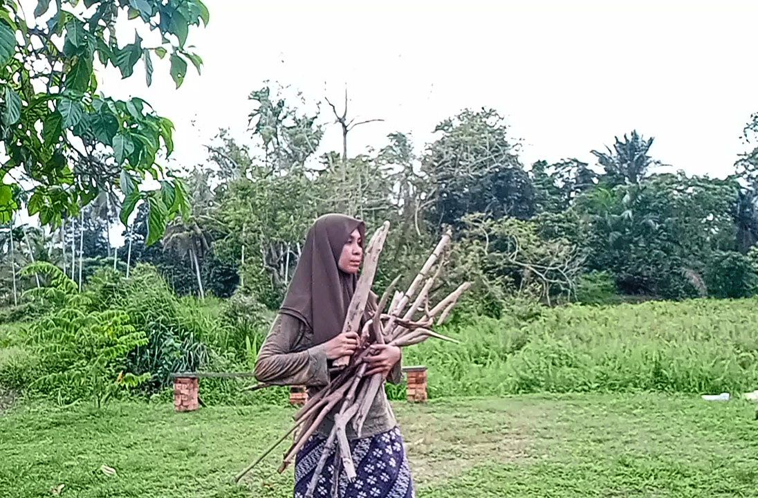 Nani collecting twigs and branches for her DIY home decoration projects.