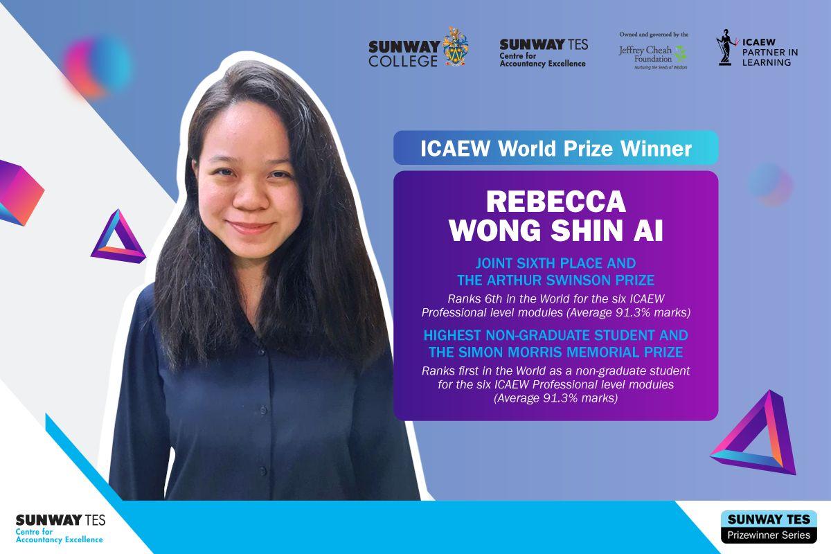 ICAEW student Rebecca Wong Shin Ai won two professional level examination world prizes.