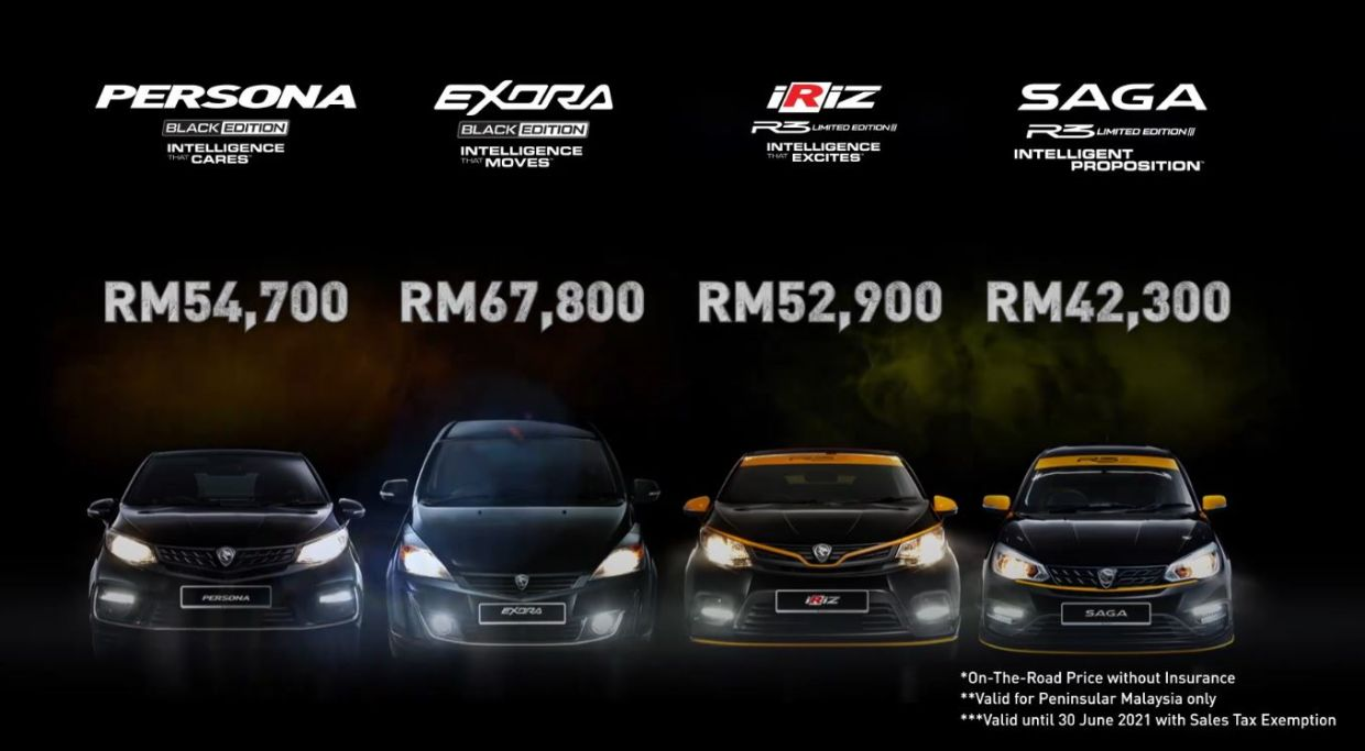 Proton Holdings Bhd unveiled four new special edition (SE) models in its line-up, namely, the Persona and Exora Black Edition, as well as Iriz and Saga R3 Limited Edition.