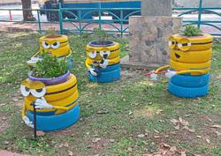 Say hello to minions at the park