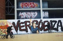 Graffiti artists protest over jailed Spanish rapper