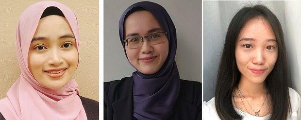 (From left) Nur Aida Sabriena Ramli, Iffah Chek Peei and Lim Xin Ying, the top three best ACCA Top Affiliates in Malaysia.