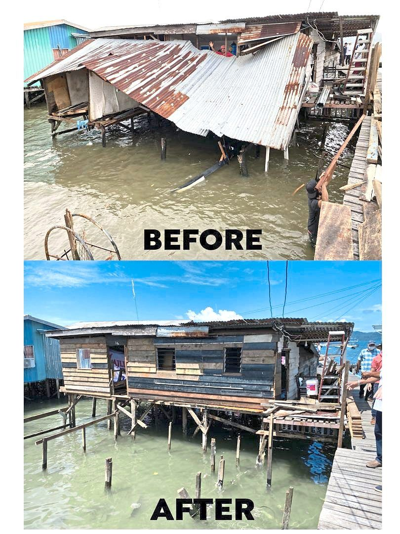 A house in Kota Kinabalu that was destroyed by a downpour has been repaired with help from donors.