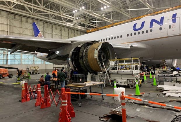 The damaged starboard engine of United Airlines flight 328, a Boeing 777-200, is seen following a Feb. 20 engine failure incident, in a hangar at Denver International Airport in Denver, Colorado, U.S. February 22, 2021. - Reuters