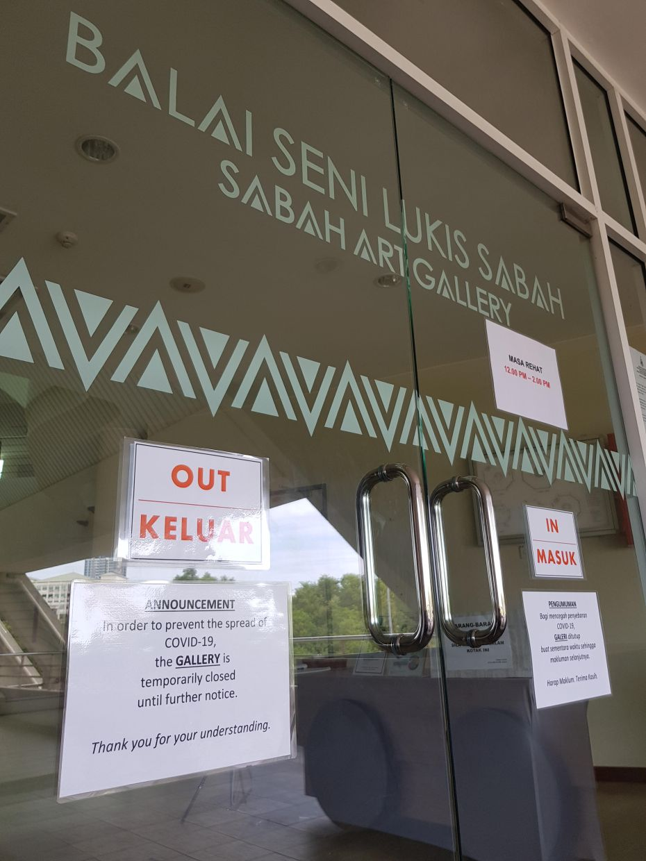 The notice of premise closure at the entrance door of Sabah Art Gallery in Kota Kinabalu.