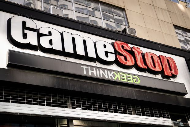 GameStop shares, which doubled their value on Wednesday, hit US$160 at Thursday\'s open before being halted after several minutes of trading and fell to around $129 before the second halt. The stock closed for the day at $108.73 for an 18.5% gain, after soaring almost 90% at the session peak.