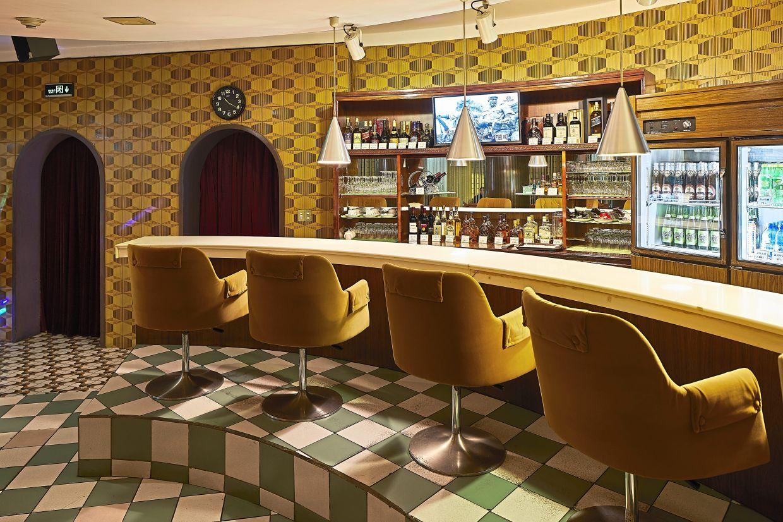 The Koryo Hotel bar sports a 1970s retro look.