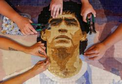 Pain to tiled art: Argentines honor soccer star Maradona with mosaics
