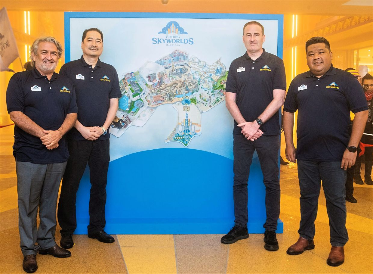 (From left) Holloway, Lee, Pearn and RWG Theme Park vice-president  Sanjay Nadarajah are excited to welcome visitors to Malaysia's newest world-class tourist attraction in Genting Highlands. (Face masks were removed for this photograph.)