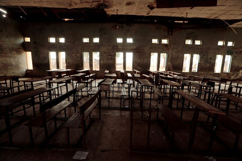 FILE PHOTO A classroom furniture is seen arranged inside the hall at the Government Science College in Kagara Niger state Nigeria February 18 2021. REUTERSAfolabi SotundeFile Photo