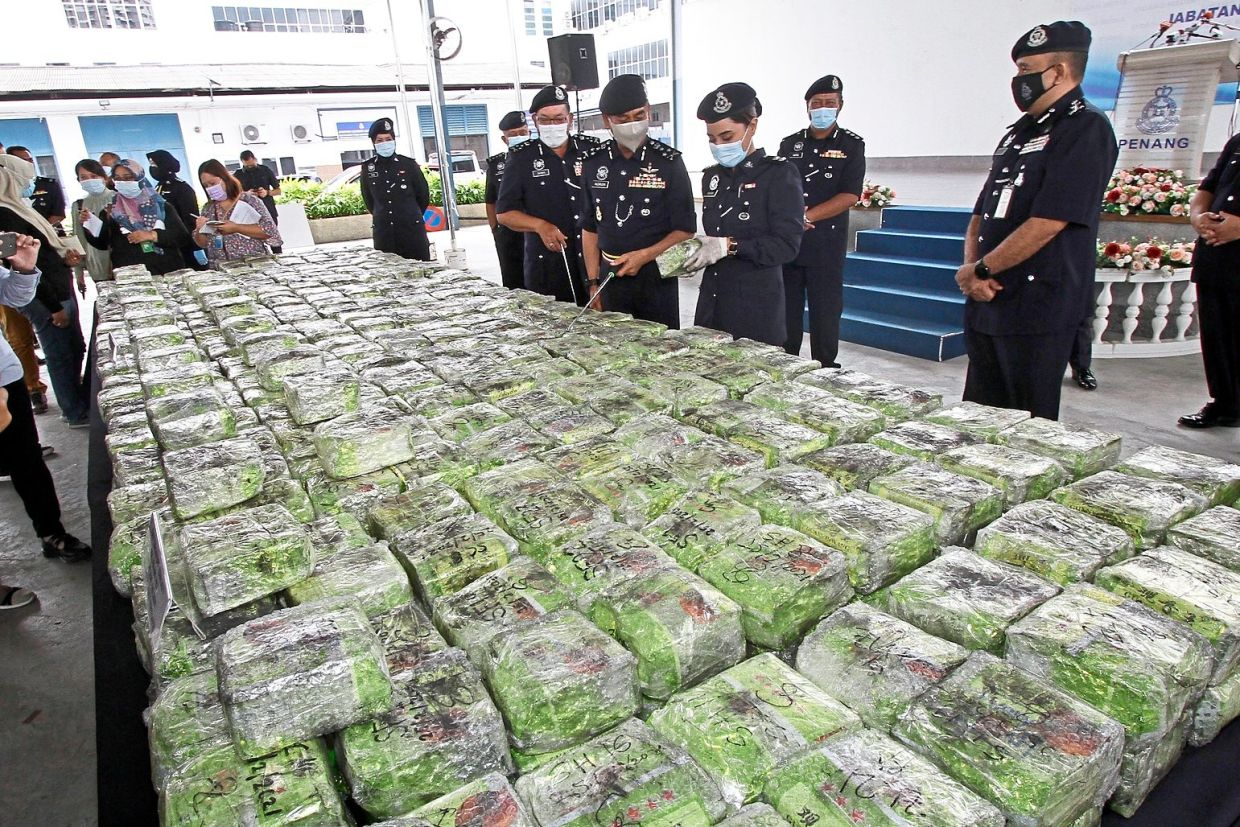 Big seizure: The packs of syabu being displayed during the press conference at the Penang state police headquarters.