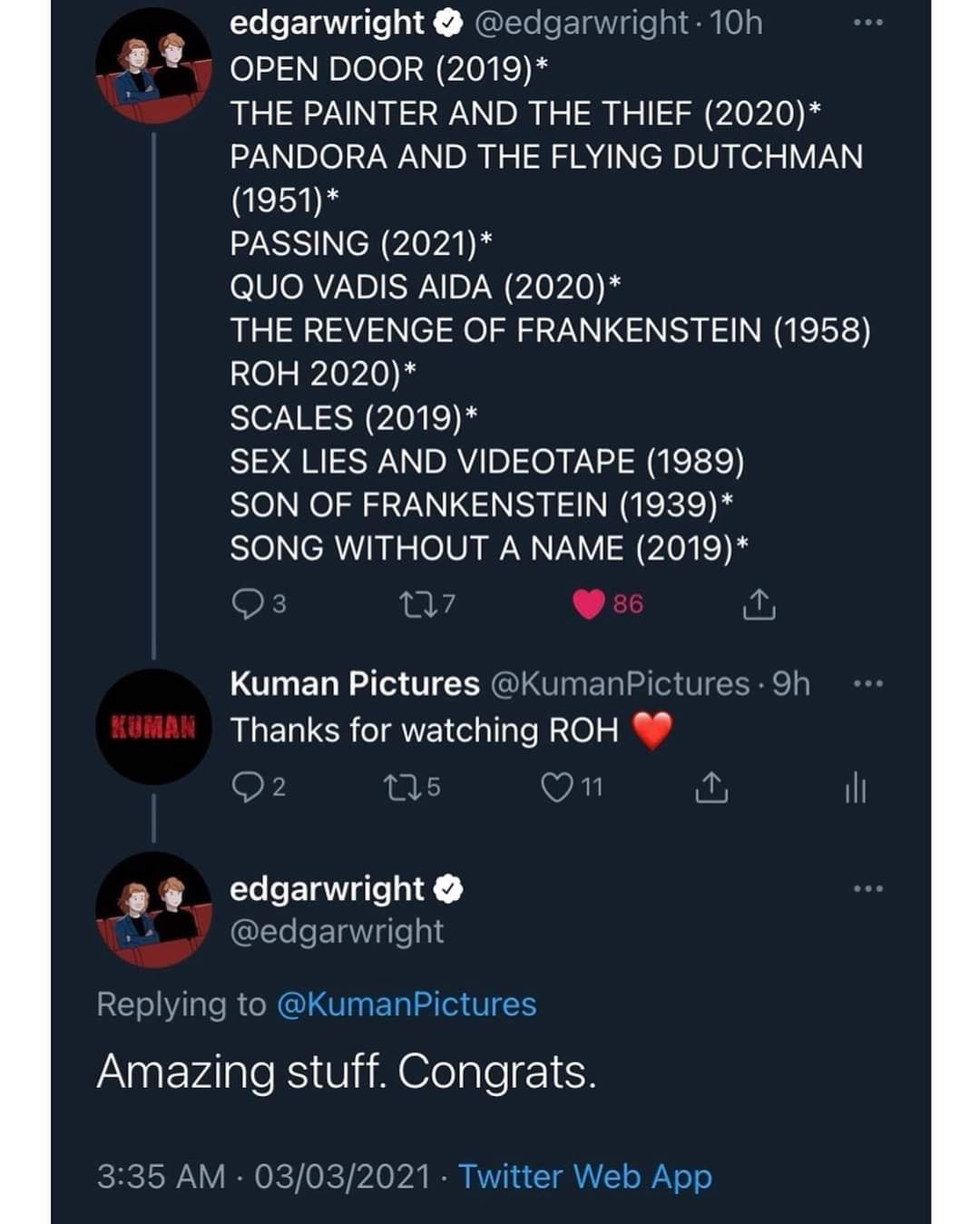 A screenshot of the director's shoutout to 'Roh' on Twitter. Photo: Kuman Pictures/Facebook