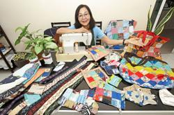 Penang retiree sews used, cleaned face masks into various household items